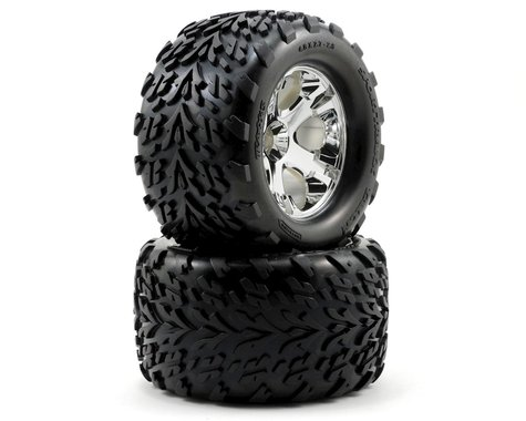 "Traxxas Talon Pre-Mounted 2.8"" Tires w/All-Star Front Wheels (2) (Chrome)"