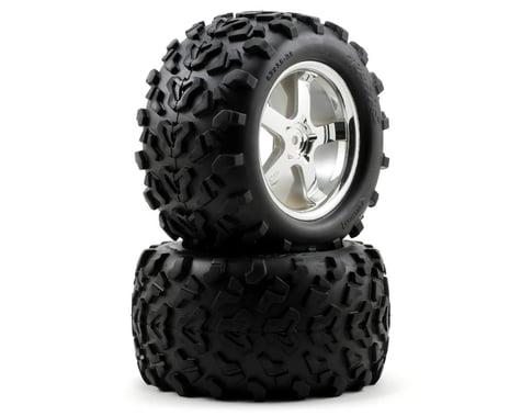 """Traxxas T-Maxx Pre-Mounted 3.8"""" Tire w/Hurricane Wheels (2) (Chrome)"""