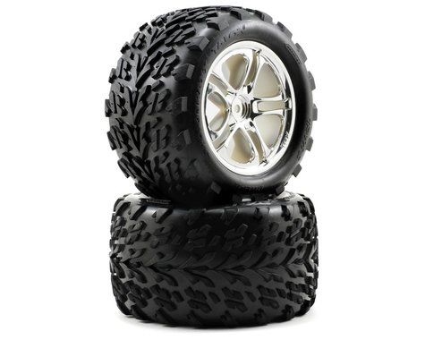 "Traxxas Talon 3.8"" Pre-Mounted Tires (Split Spoke) (2) (Revo 3.3) (Chrome)"