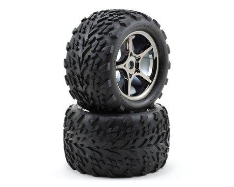 Traxxas Talon Pre-Mounted Tires w/17mm Gemini Wheels (2) (Black Chrome)