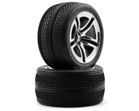 Traxxas Victory Tires w/Twin Spoke Front Wheels (2) (Jato) (Chrome)