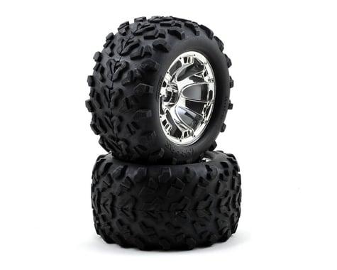 Traxxas Pre-Mounted Monster Truck Tires w/17mm Geode Wheels (2) (Chrome)