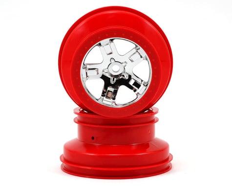 Traxxas 12mm Hex Dual Profile Short Course Wheels (Chrome/Red) (2) (Slash Front)