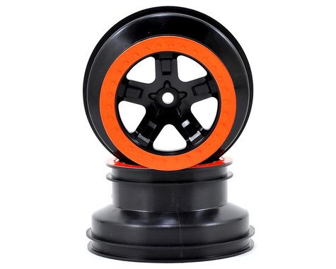 Traxxas 2.2/3.0 Dual Profile SCT Front Wheel (2) (Black/Orange)