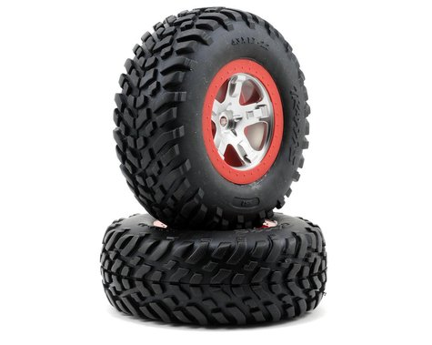 Traxxas 2.2/3.0 Tire w/SCT Rear Wheel (2) (Satin Chrome) (S1)