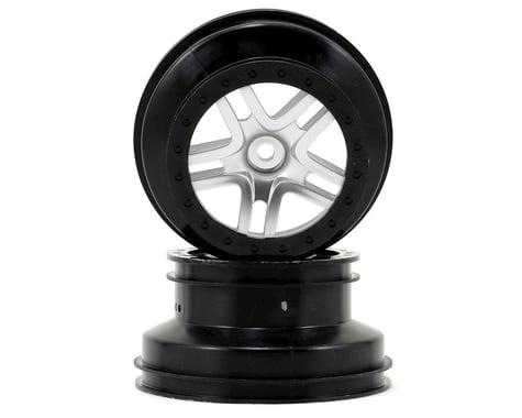 Traxxas Dual Profile Split-Spoke SCT Wheels (Satin Chrome/Black-2) (Slash Rear)