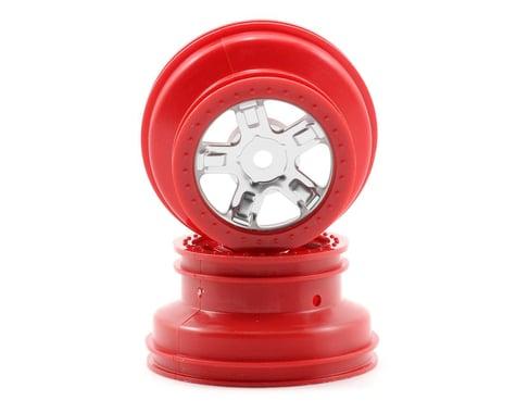 Traxxas 1/16 SCT Beadlock Wheel (Satin Chrome/Red) (2)