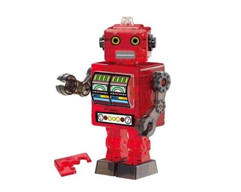 University Games Corp BePuzzled 30898 - Original 3D Crystal Tin Robot Puzzle (39 Piece), Red