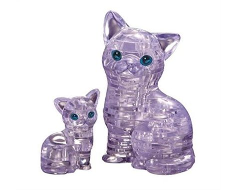 University Games Corp Original 3D Crystal Puzzle - Cat & Kitten Clear