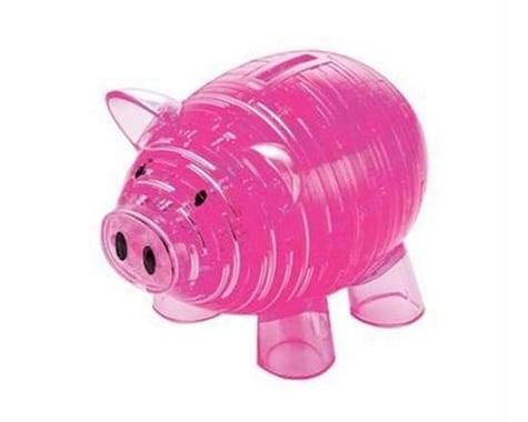 University Games Corp Bepuzzled 30967 3D Crystal Puzzle - Piggy Bank: 93 Pcs