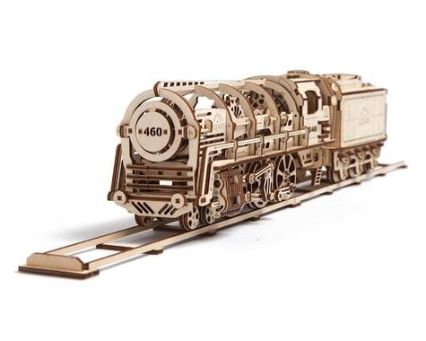 UGears 460 Locomotive with Tender Mechanical Wooden 3D Model