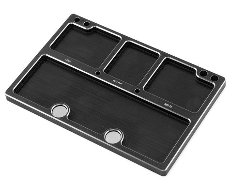 VRP 120x80mm Aluminum Medium Parts Tray w/Storage Pouch (Black)