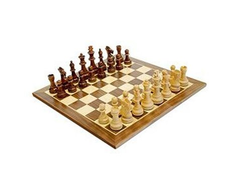 "Wood Expressions  Walnut 15"" Chessboard With 3"" Ki"
