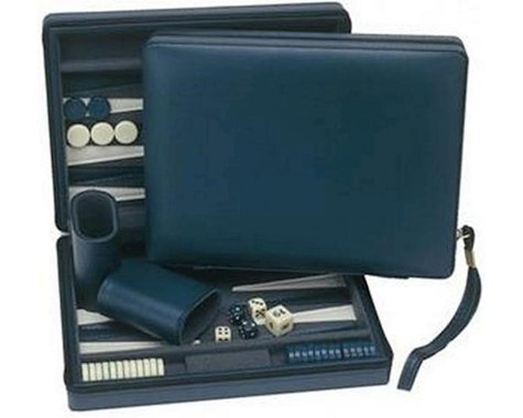 Wood Expressions WE Games 20-1209 Compact Travel Magnetic Backgammon with Carrying Strap - Blue