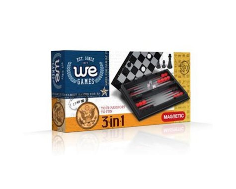 Wood Expressions WE Games 26-1508 3-in-1 Combination Game Set -Small Travel Size