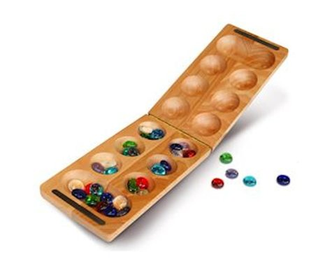 Wood Expressions WE Games 49-2008 Travel Solid Wood Folding Mancala Game (African Stone Game)