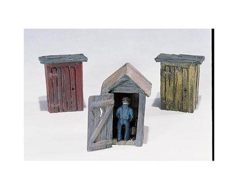 Woodland Scenics HO 3 Outhouses & Man