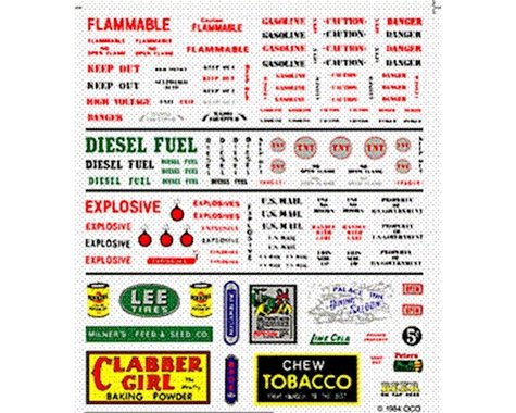 Woodland Scenics Dry Transfer, Data Warning Label/Commercial Signs