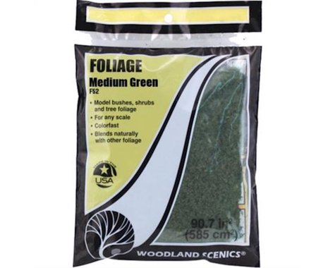 Woodland Scenics Foliage Bag, Medium Green/90.7 sq. in.