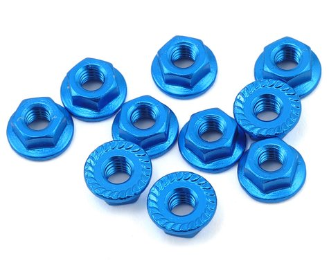 Yeah Racing 4mm Aluminum Serrated Lock Nut (10) (Blue)