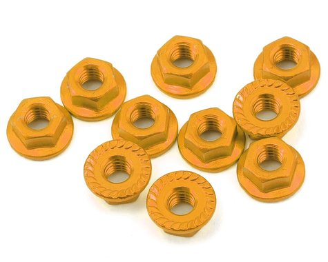 Yeah Racing 4mm Aluminum Serrated Lock Nut (10) (Gold)
