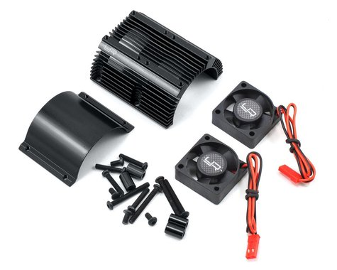 Yeah Racing 1/8 Twin Fan Aluminum Heat Sink w/2 Fans (Black) (40.8mm diameter)