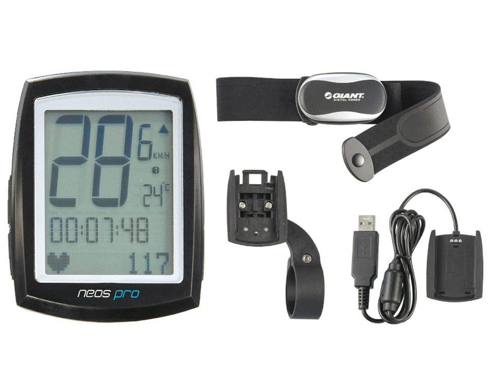 Giant Neos Pro Ant Wireless Bike Computer W Heart Rate Strap Pc Dock 291130 Accessories Amain Cycling