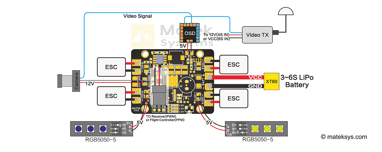 Racetek Matek Led Pdb V3 5 In 1 5v 12v Rtk7506 Drones Build Precision Receiver Battery Low Voltage Alarm Circuit Diagram Amain Hobbies