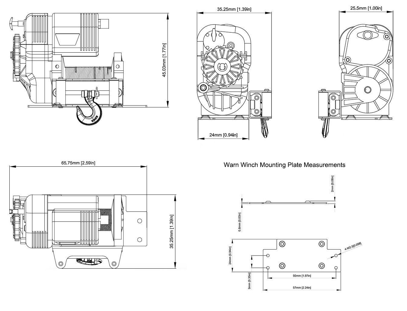 Rc4wd Warn 8274 1 10 Scale Winch Rc4ze0075 Rock Crawlers 1000 Ac Motor Wiring Diagram Specs