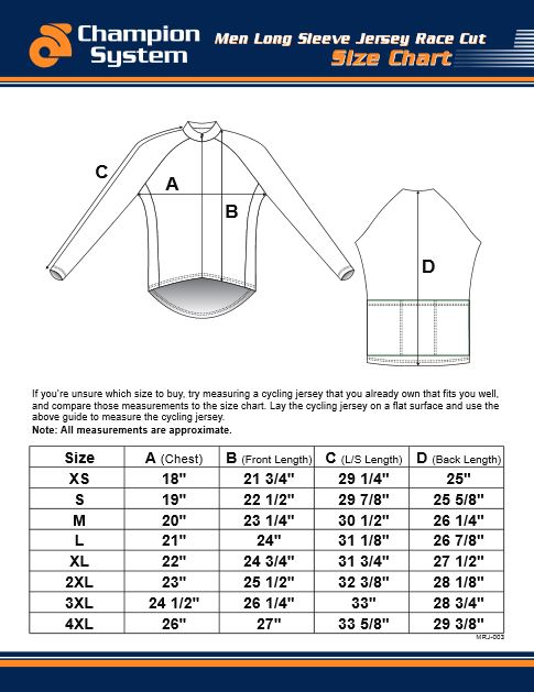 Tech LS Jersey Size Chart