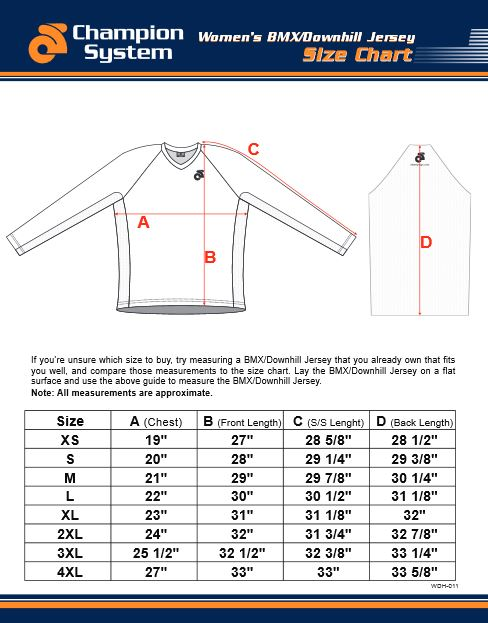 Womens DH Jersey size chart