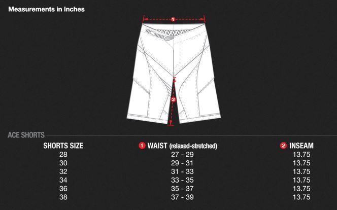 Ace Short Size Chart