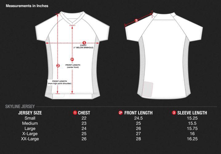 TLD Skyline Jersey Size Chart
