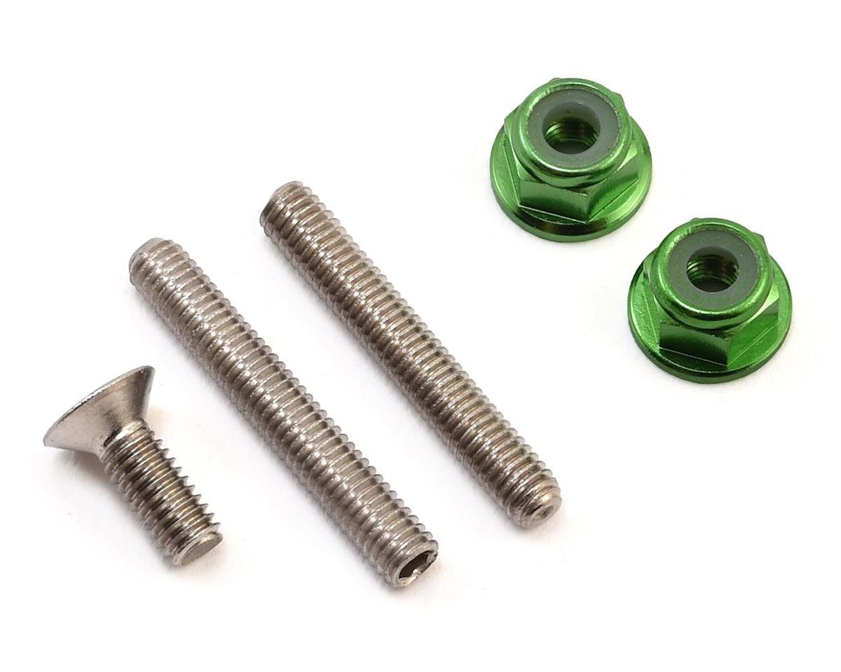 "175RC ""Ti-Look"" Lower Arm Stud Kit (Green) (Team Associated RC10 B64D)"