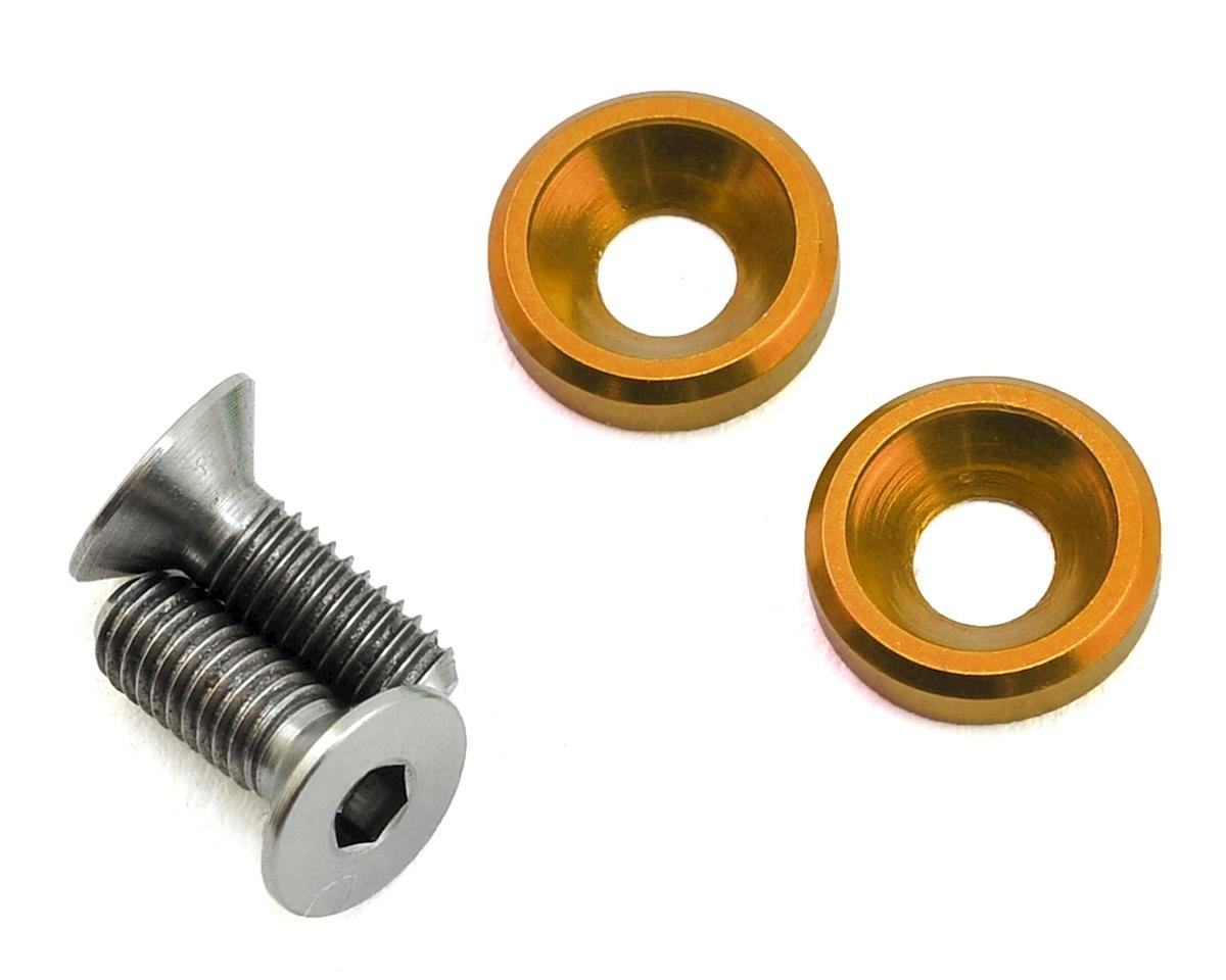 175RC 3x8mm Titanium Flat Head Motor Screws w/Aluminum Washers (Gold) (2)