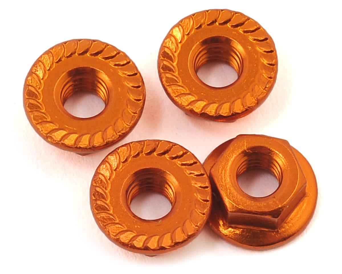 Aluminum 4mm Serrated Wheel Nuts (Orange) by 175RC (Kyosho Ultima RB6.6)