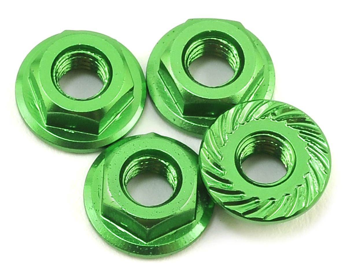 Aluminum 4mm Serrated Wheel Nuts (Green) by 175RC