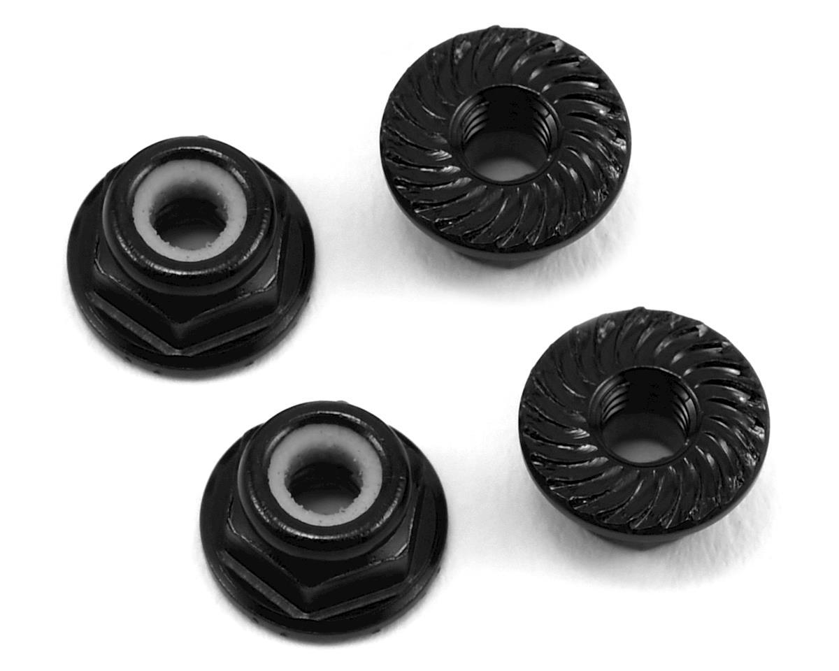 175RC Aluminum 4mm Serrated Locknuts (Black) (Team Associated RC10 T5M)