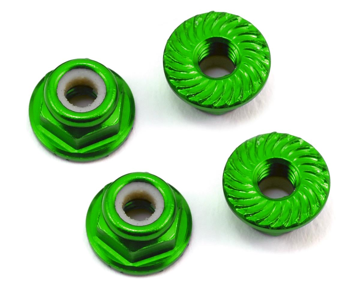 175RC Aluminum 4mm Serrated Locknuts (Green) (Team Associated RC10 T5M)