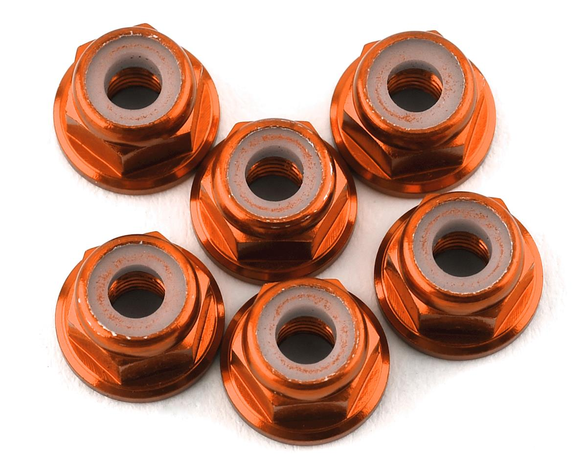 175RC Lightweight Aluminum M3 Flanged Lock Nuts (Orange) (6)