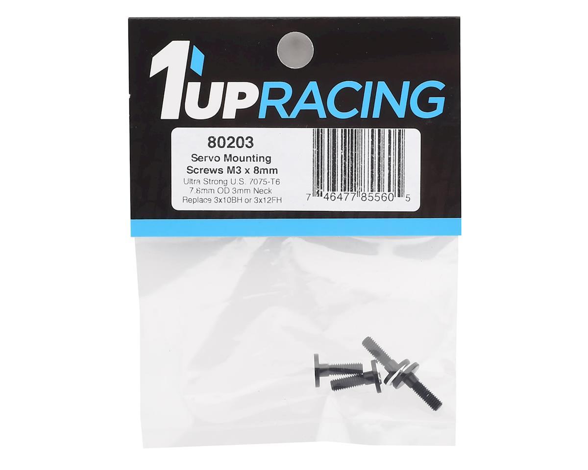1UP Racing 3x8mm Aluminum Servo Mounting Screws w/3mm Neck (Black) (4)