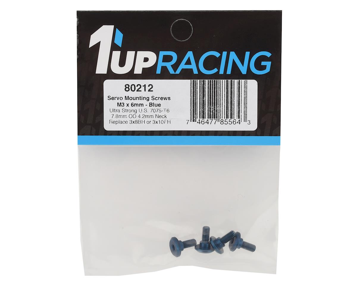 Image 2 for 1UP Racing 3x6mm Aluminum Servo Mounting Screws w/4.2mm Neck (Blue) (4)
