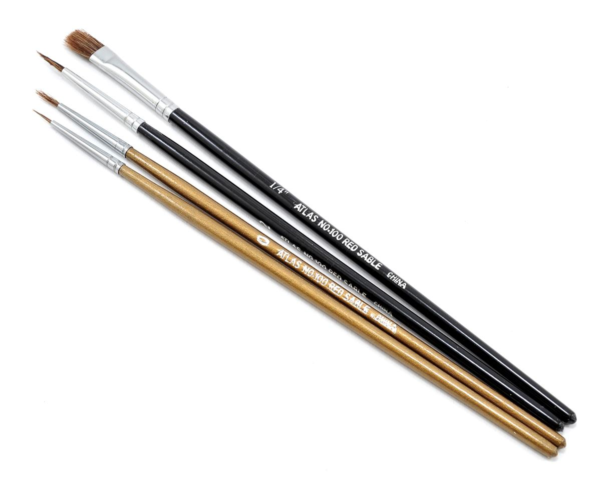 Atlas Brush Camel/Sable Round & Flat Brush Set (4)