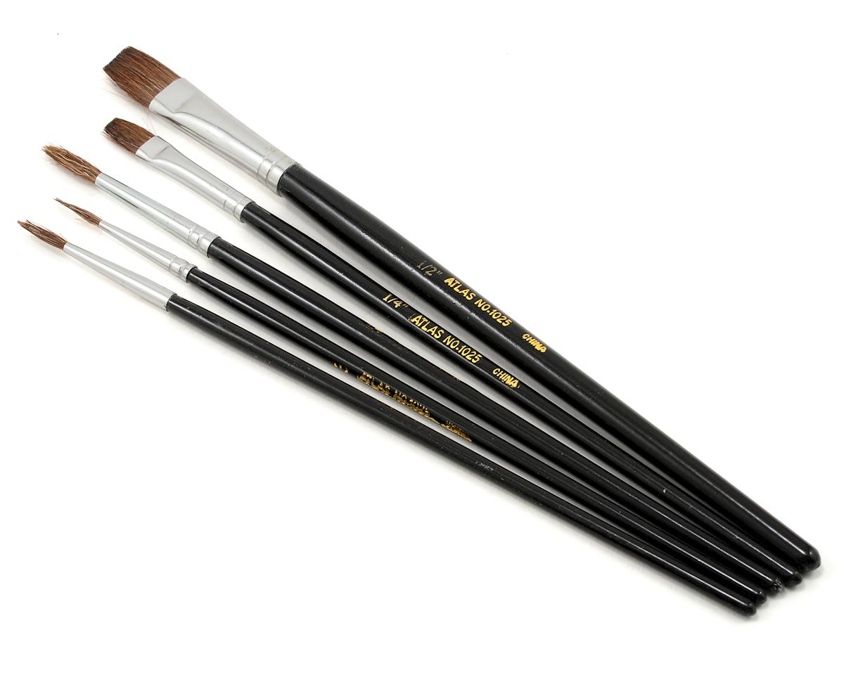 Atlas Brush Round & Flat Camel Hair Brush Set (5)