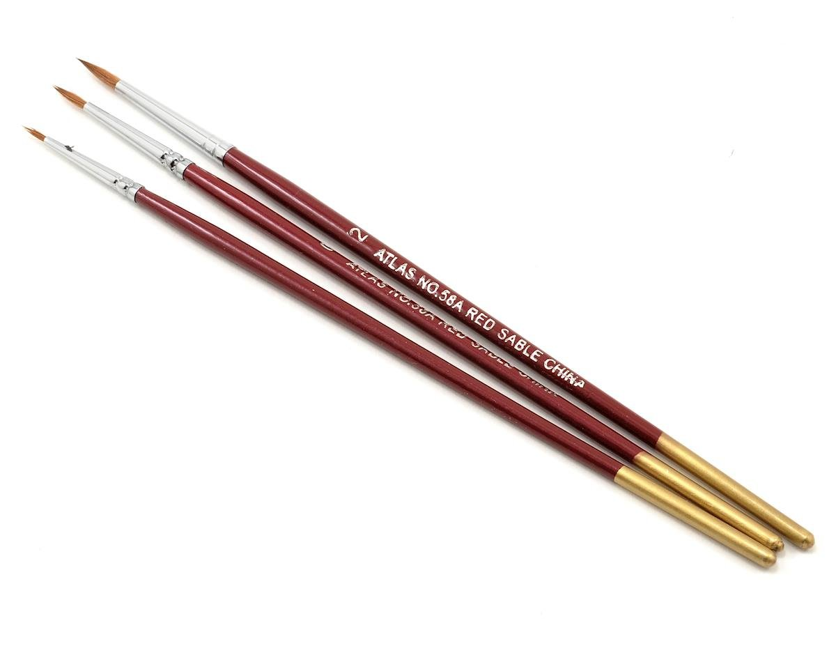 Red Sable Brush Set 5/0-0-2 (3) by Atlas Brush