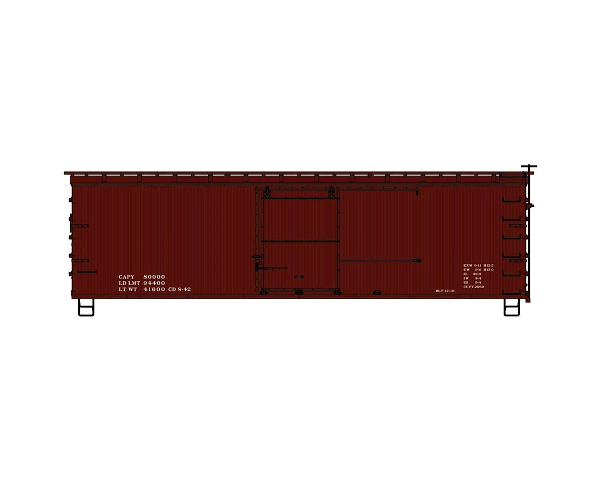 Accurail HO KIT 36' WE/DS Fishbelly Box,Data Only/Red/1940