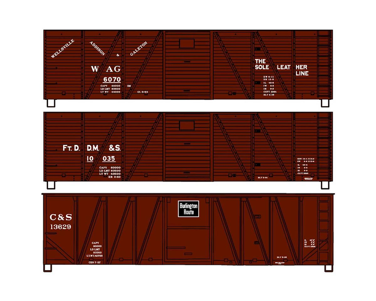Accurail HO KIT 40' Wood Box, WAG/FtDDM&S/C&S (3)