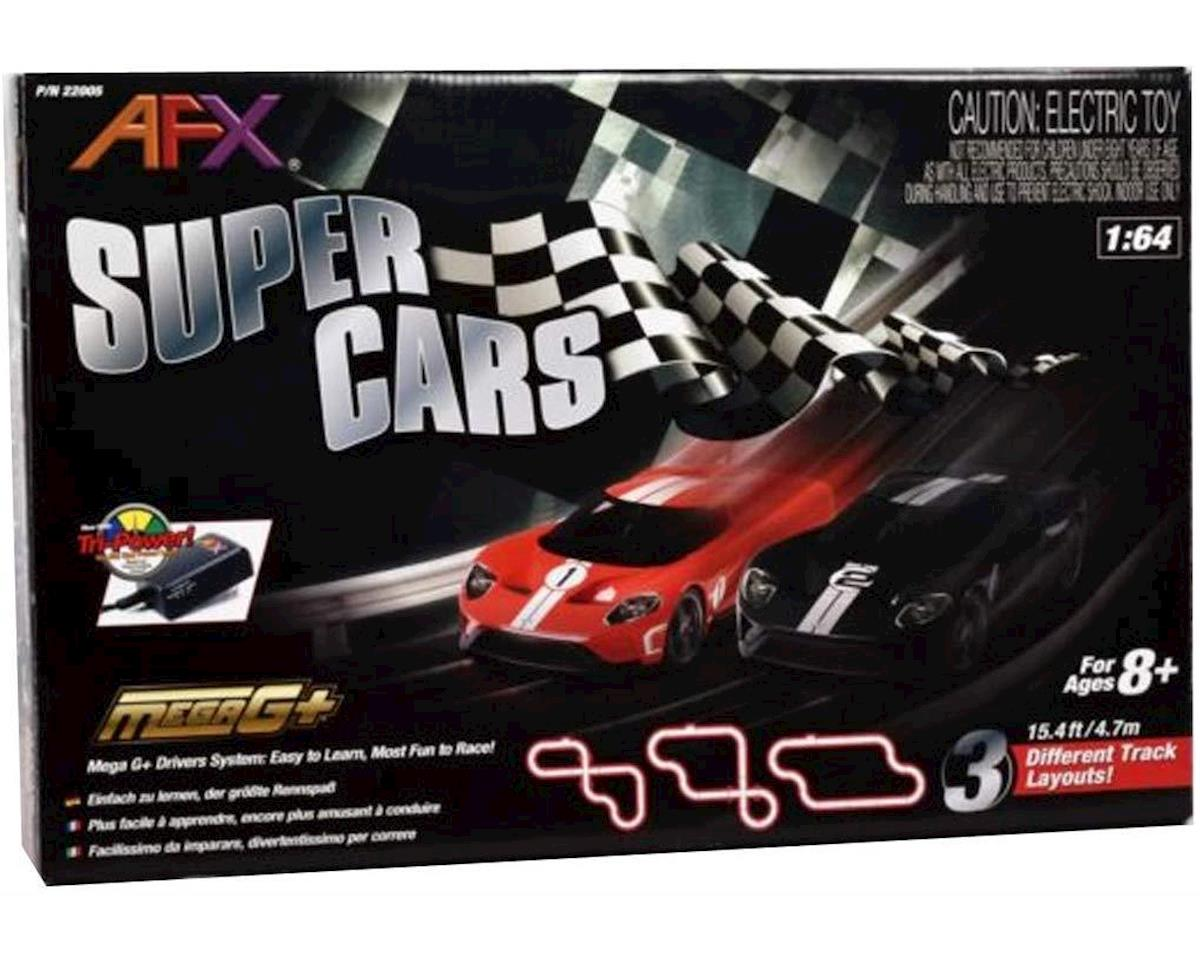 AFX Super Cars Set;15ft Track,Mega G+ Chassis,Tri-Pack