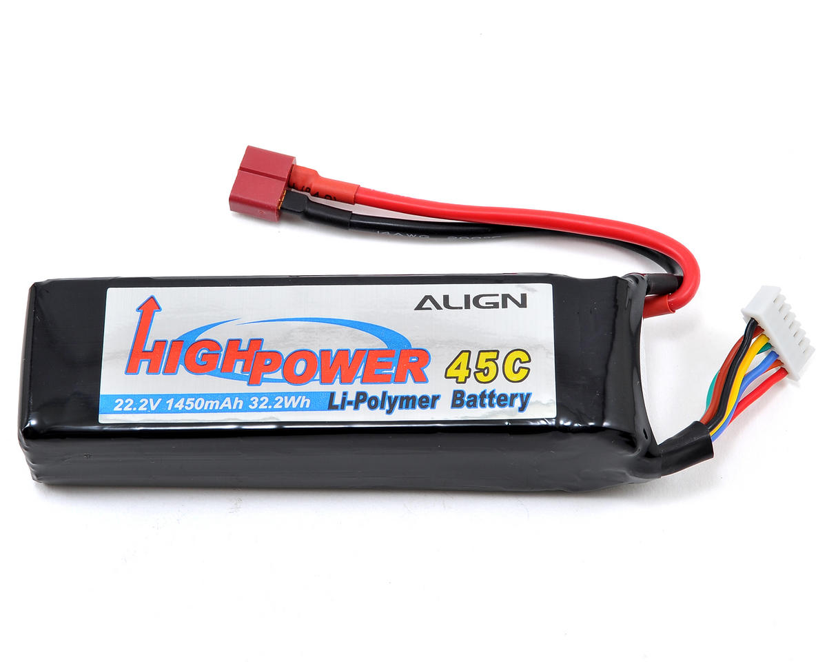 Align T-Rex 450L 6S High Power LiPo 45C Battery Pack (22.2V/1450mAh)