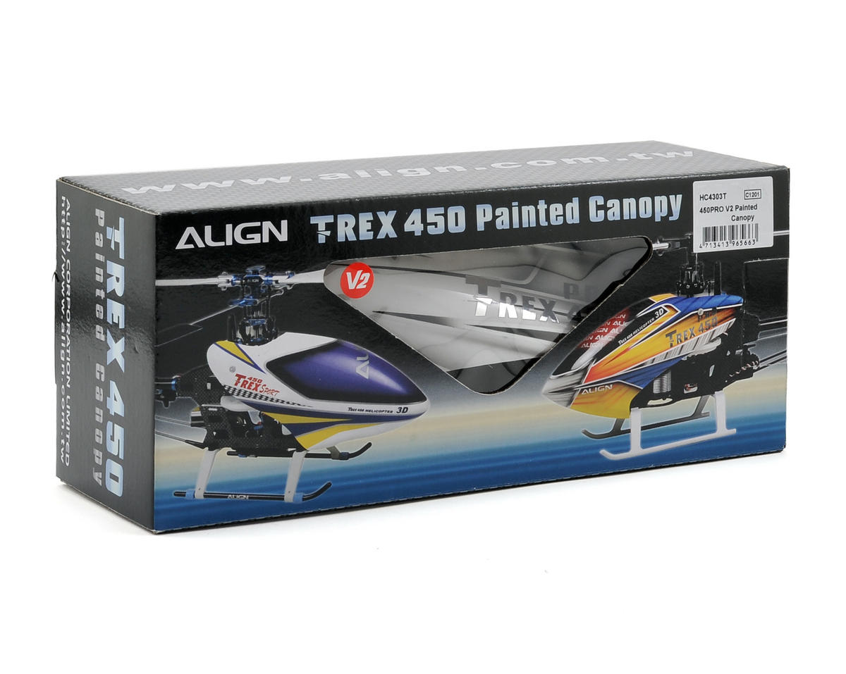 Align 450 Pro V2 Painted Canopy (Silver/Blue/Gold)